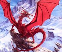 Красный дракон в горах. Бесплатная схема вышивки бисером