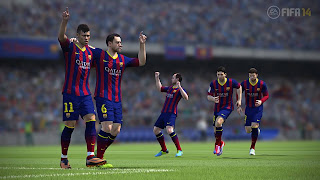 Neymar, Xavi & Messi in FIFA14 Screenshot