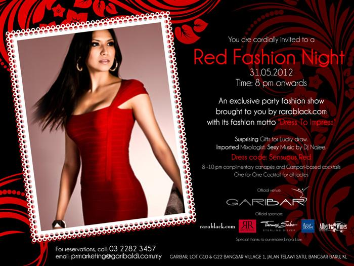 Red Fashion Night+(Custom) Sexy music. Imported mixologist. Complimentary palate tickling canapes