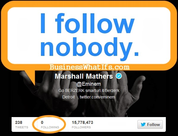 Eminem does not follow anyone on Twitter.