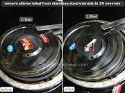 how to remove sticker labels from stainless steel utensils