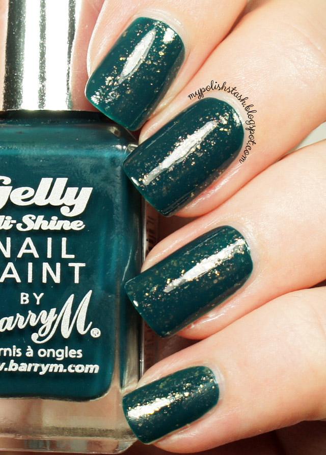 teal creme nail polish gold glitter