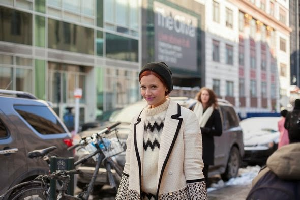 white and black sweater coat redheads pink lipstick street style new york street style womens fashion new york fashion week 2014