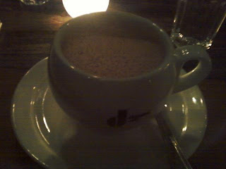 hot chocolate by candle light, and i set myself on fire fewer than two times.  success.