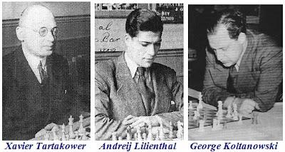 Xavier Tartakower, Andreij Lilienthal y George Koltanowski