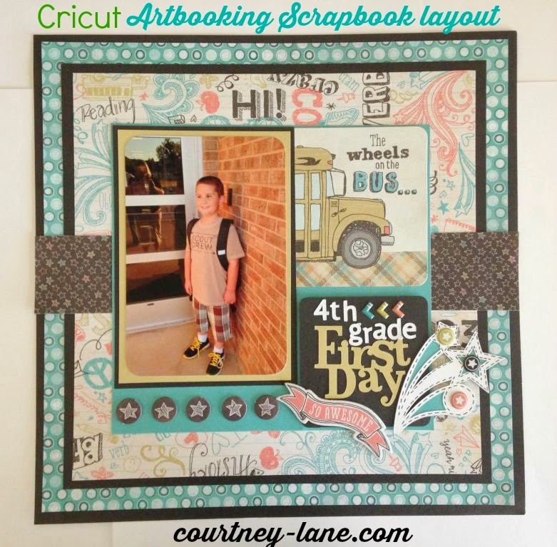 Cricut Artbooking First Day of 4th grade scrapbook layout