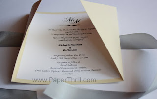 Handmade monogram wedding invitation card