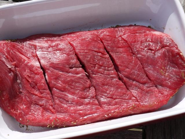 Clockwatching Tart: Beer-Marinated Flank Steak with Aji Sauce
