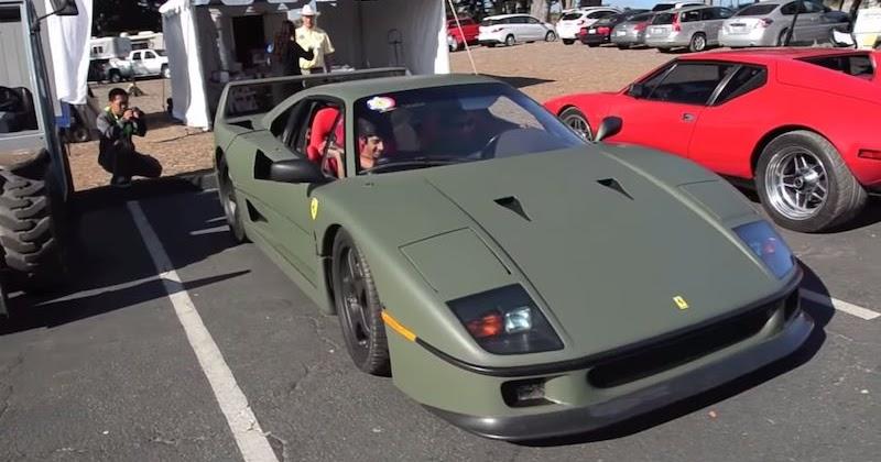 【動画】「フェラーリf40」を戦闘機みたいなマットグリーンカラーにカスタム!|idea Web Tools