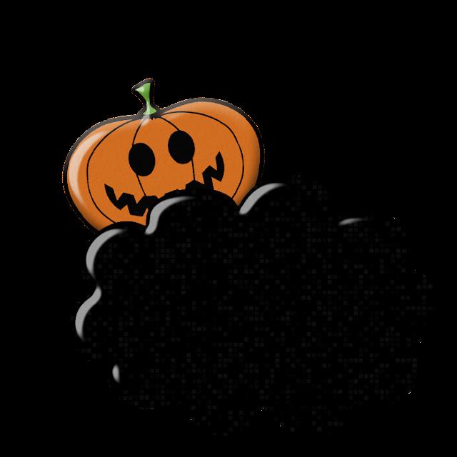 Abóbora de Halloween desenho colorido com fundo transparente