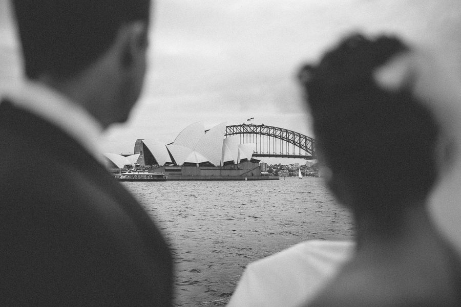 Sydney Harbor Wedding, bridal party boat, Sydney Opera House