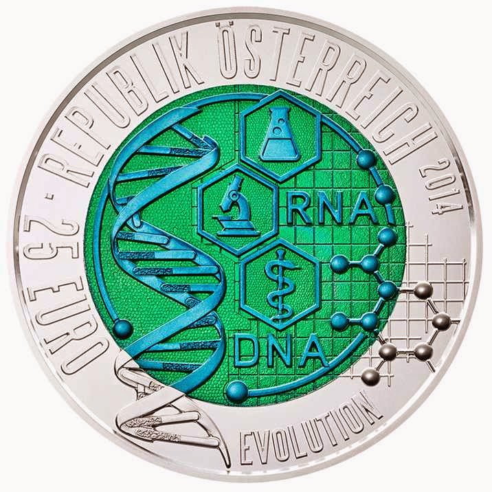commemorative coins Austria 25 Euro Silver Niobium Coin 2014 The Dawn of a New Era, Evolution