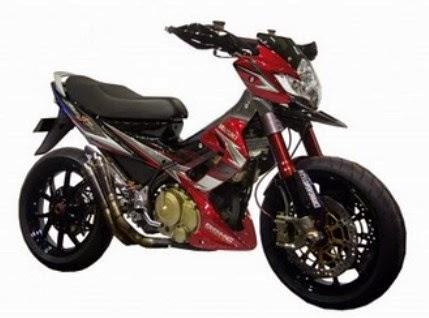 Modifikasi Suzuki Satria F150 Red Black