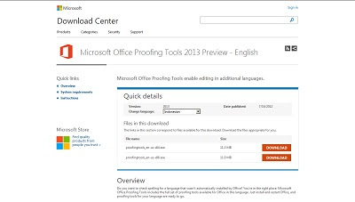 Microsoft Office Proofing Tools 2013 Preview, Office Aplication