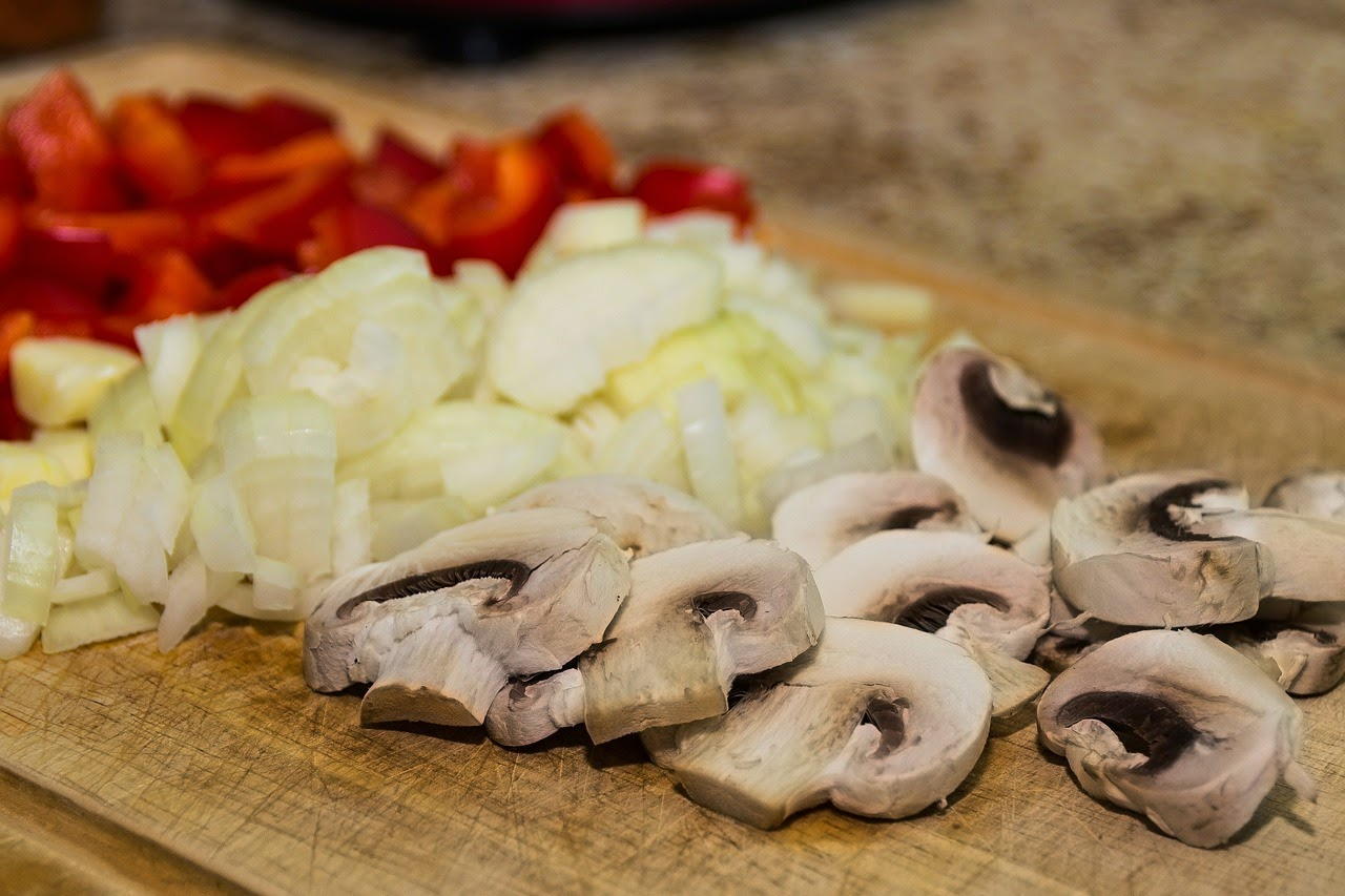 chopped red pepper, onion and mushrooms