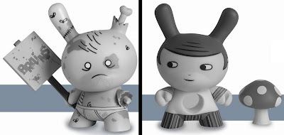Kidrobot Dunny Series 2011 - Huck Gee Zombie Variant & Aya Kakeda Hole in the Middle Dunnys
