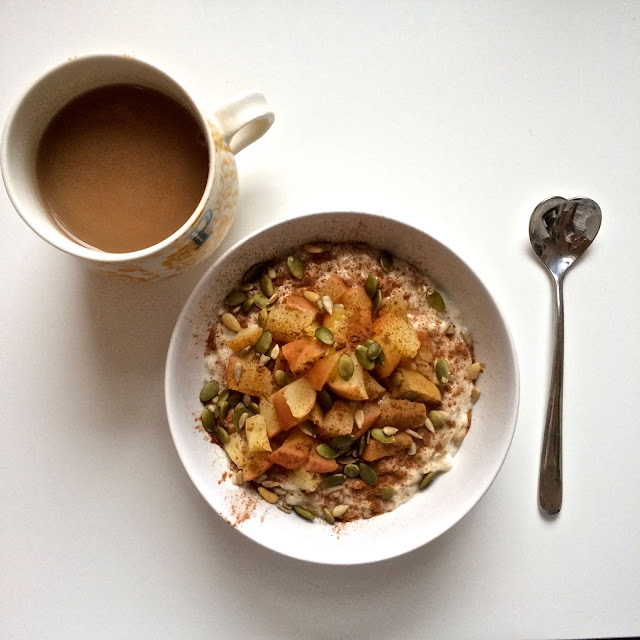 porridge with apple and cinnamon with a cup of earl grey