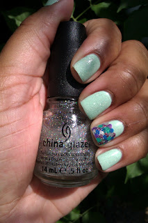 mint, green, mermaid, rainbow fish, fairy dust, nail art, mani