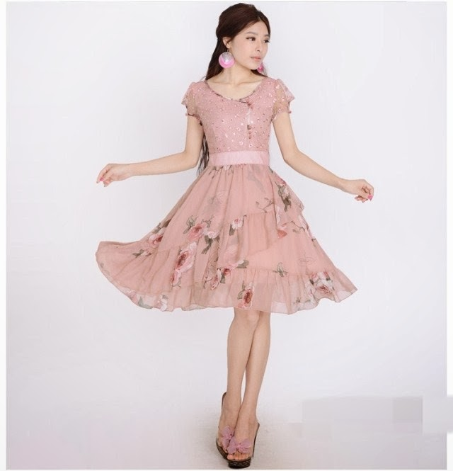 Lotus Sleeve Vintage Rose Chiffon Knee Length Dress