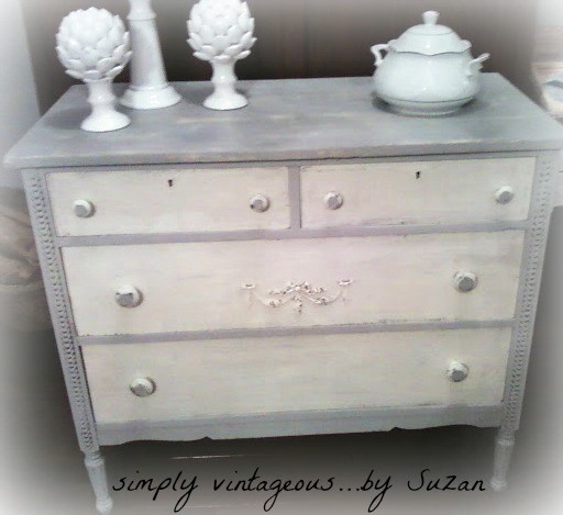 Shabby, Dresser, White, Gray, Appliques, distressing