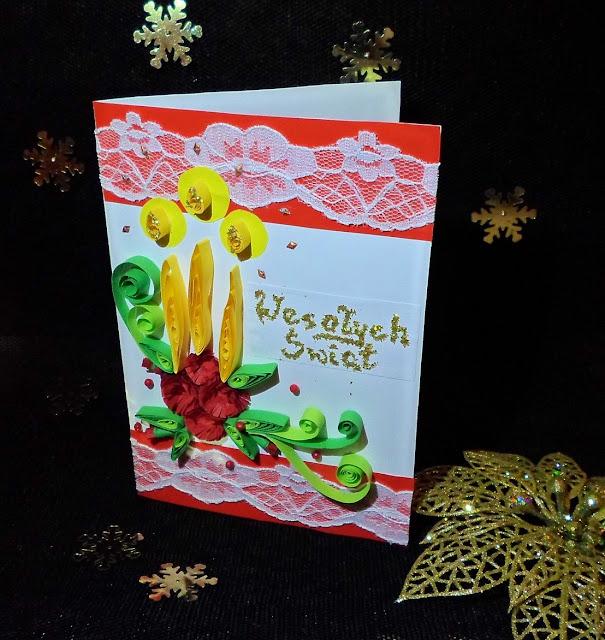 Kartki świąteczne, stroik DIY