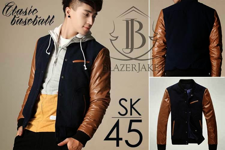 Brown Combined Classic Baseball Korean Style Jacket blazerjaket blazerkorea