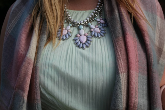 miss selfridge, mint crepe sleeveless midi dress, pastel chequered scarf, primark, silver pastel costume necklace