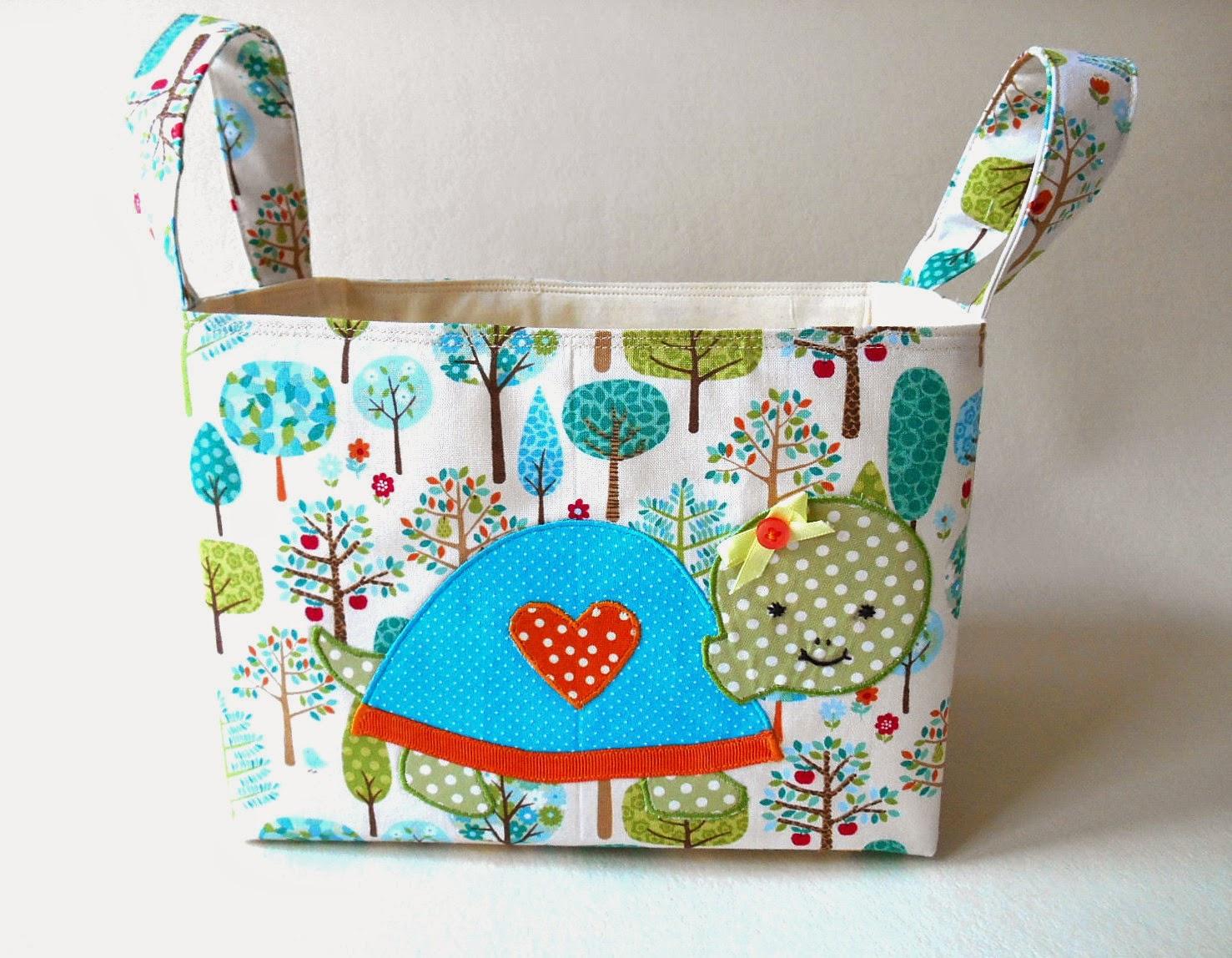 spring greens turtley applique fabric basket