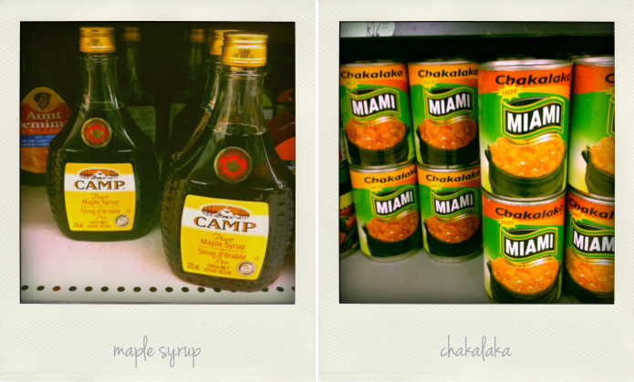 Polaroids of South African and Canadian condiments. Maple syrup and chakalaka.