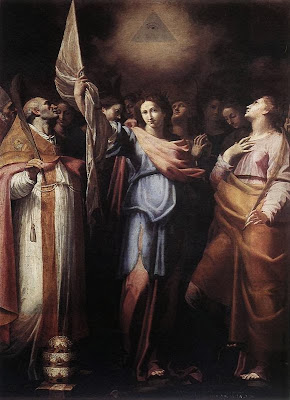Santa Ursula y sus Compañeras con el Papa y Santa Catalina