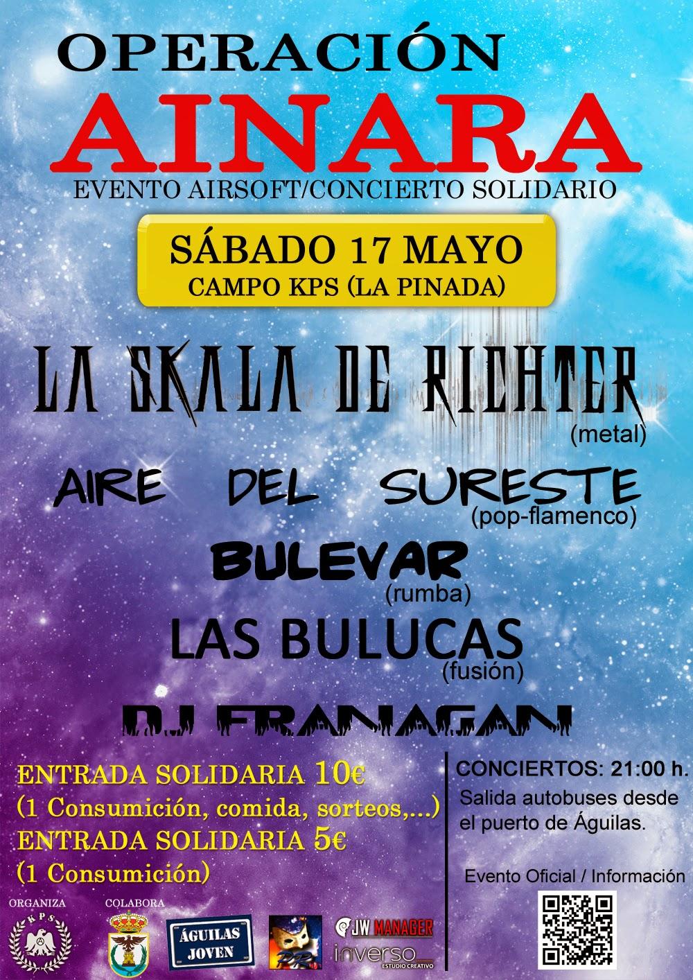EVENTO solidario OPERACIÓN AINARA en concierto LA SKALA DE RICHTER + AIRE DEL SURESTE + BULEVAR + LAS BULUCAS + DJ FRANAGAN.