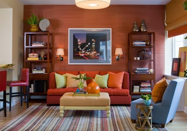 Living Room Design With Color Combination Blue Orange And
