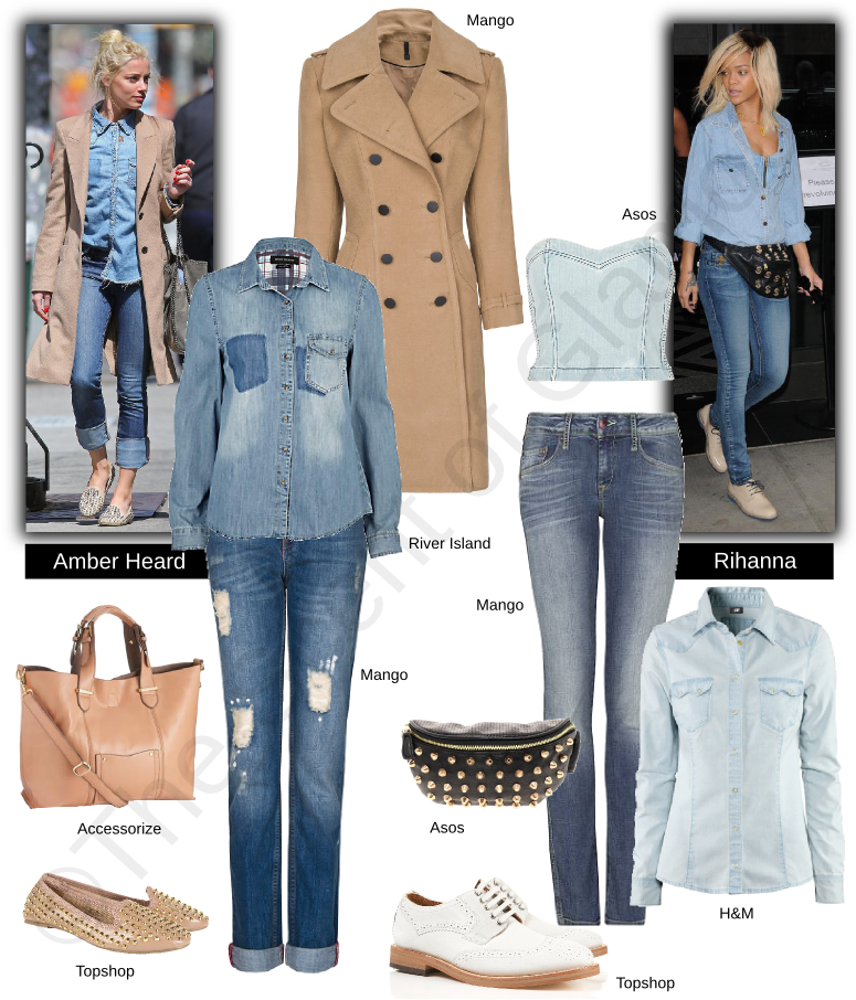 mango coat, asos denim bralet, river island denim shirt, mango jeans, asos bag, accessorize bag, topshop white oxfords, topshop studded shoes, h&m denim shirt, celebrity style, rihanna, amber heard
