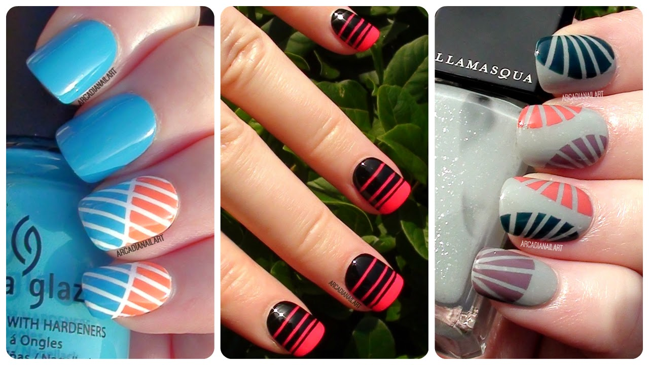 Arcadianailart 3 More Easy Striping Tape Nail Art Designs