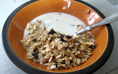 Homemade granola with milk and spoon in orange bowl