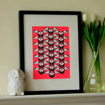 folksy handmade toucan screenprint pink grey mengsel