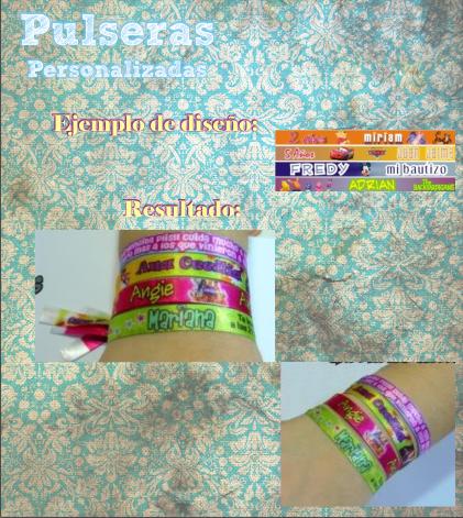 Pulsera personalizada TODO para tu Baby shower, Bautizo, presentacion,  Cumpleaños, Boda, XV años, Primera comunion, presentacion!!