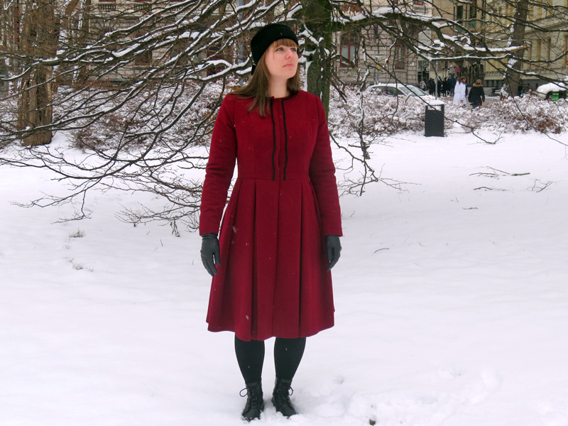 The ruby red winter coat front | www.stinap.com