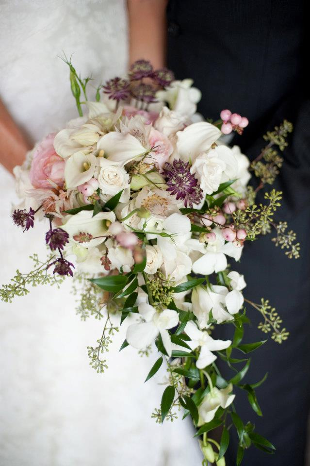 astrantia vintage romantic cascade wedding bouquet calla snowberries sycalyptus dendrobium roses astilbe blushing bride protea