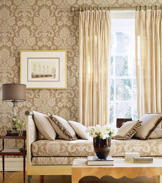 Magnificent or egregious damask wallpaper anyone for Wallpaper living room ideas
