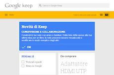 Google Keep aperto con l'app per Chrome