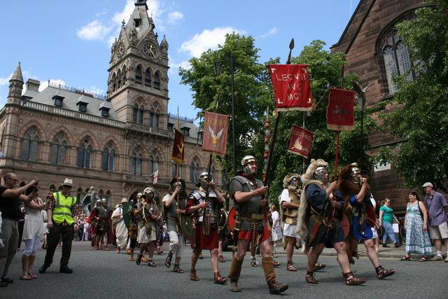 Roman soldiers walk the streets of Chester
