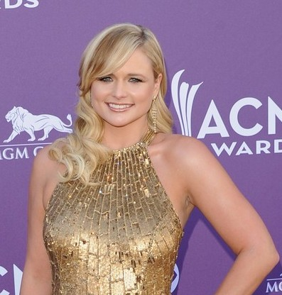 Country singer Miranda Lambert was golden in a Randi Rahm dress on the    Miranda Lambert Straight Hair