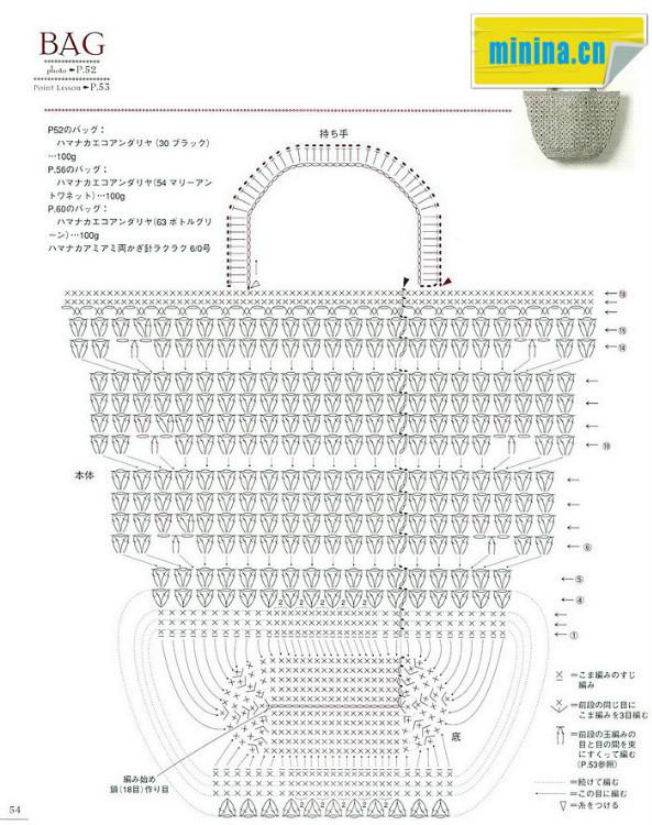 Crochet Bag Patterns Diagram : Bolso Sencillo de Crochet Beigs - Patrones Crochet