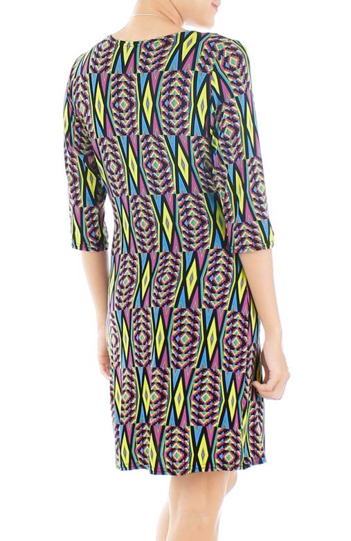 Psychedelic Aztec Wrap Dress – Neon Yellow