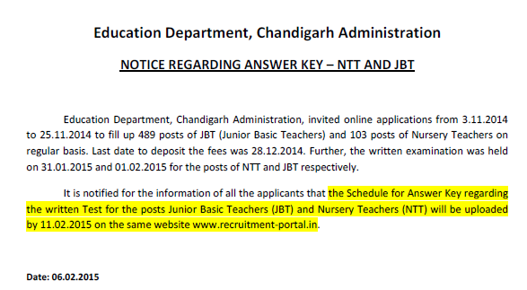 CHD EDU JBT NTT Exam Answer keys 2015