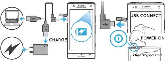 Charge Battery with USB Cable, Turn Sony Xperia SL on