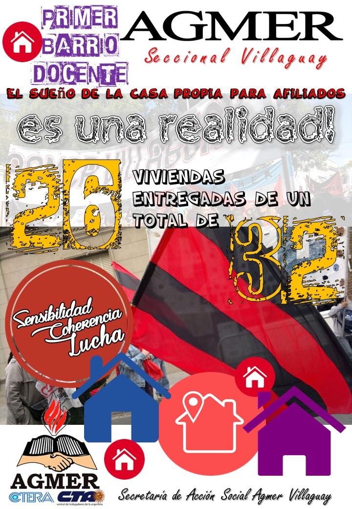 AGMER VILLAGUAY Y EL MUNICIPIO ENTREGARON 6 NUEVAS VIVIENDAS DEL BARRIO DOCENTE.