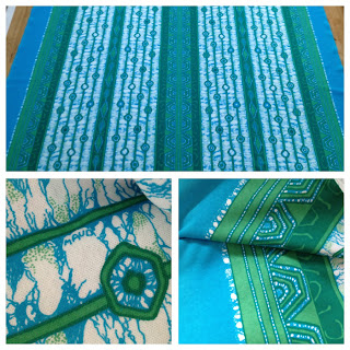 Jersey trikå Maud Fredin Fredholm signerad Turkos Grön Vit tyg textil metervara