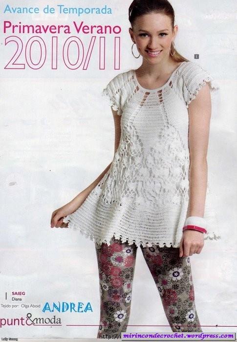 Vestido Blanco A Crochet Con Padrones Y Esquema De Puntos